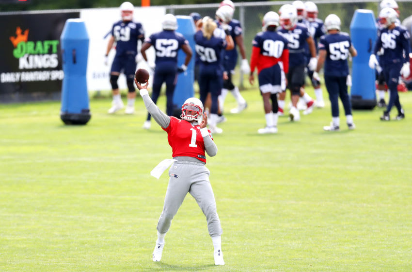 FOXBOROUGH, MASSACHUSETTS - AUGUST 26: Cam Newton #1 of the New England Patriots makes a throw during Patriots Training camp at Gillette Stadium on August 26, 2020 in Foxborough, Massachusetts. (Photo by Maddie Meyer/Getty Images)