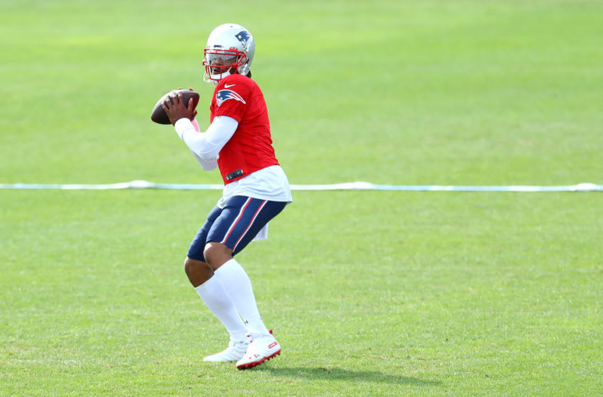 FOXBOROUGH, MASSACHUSETTS - SEPTEMBER 01: Cam Newton #1 makes a throw during New England Patriots Training Camp at Gillette Stadium on September 01, 2020 in Foxborough, Massachusetts. (Photo by Maddie Meyer/Getty Images)