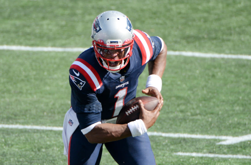 FOXBOROUGH, MASSACHUSETTS - SEPTEMBER 13: Cam Newton #1 of the New England Patriots runs with the ball during the second half against the Miami Dolphins at Gillette Stadium on September 13, 2020 in Foxborough, Massachusetts. (Photo by Kathryn Riley/Getty Images)