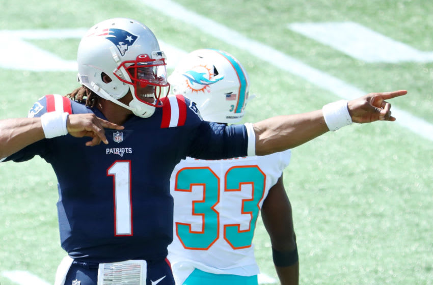 FOXBOROUGH, MASSACHUSETTS - SEPTEMBER 13: Cam Newton #1 of the New England Patriots celebrates during the game against the Miami Dolphins at Gillette Stadium on September 13, 2020 in Foxborough, Massachusetts. (Photo by Maddie Meyer/Getty Images)