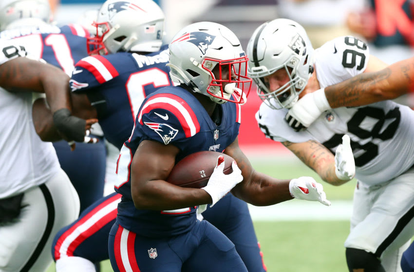 FOXBOROUGH, MASSACHUSETTS - SEPTEMBER 27: Sony Michel #26 of the New England Patriots carries the ball during the first half against the Las Vegas Raiders at Gillette Stadium on September 27, 2020 in Foxborough, Massachusetts. (Photo by Adam Glanzman/Getty Images)
