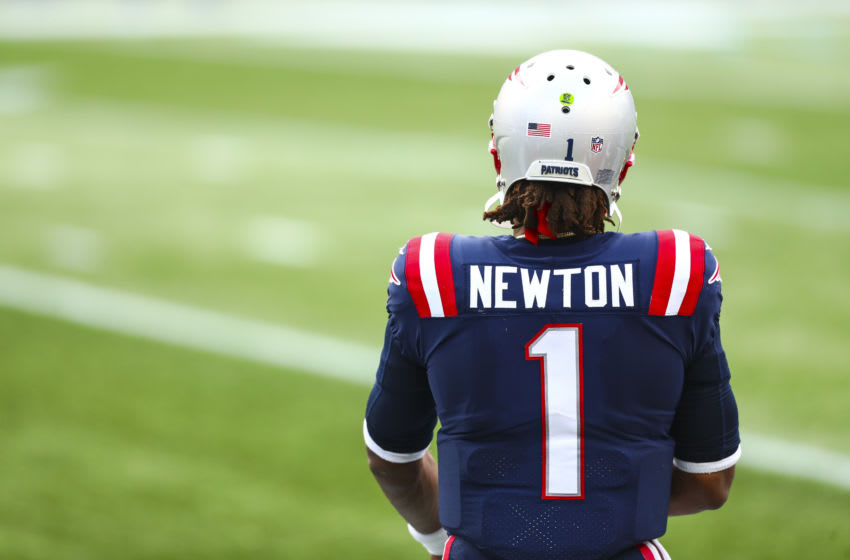 FOXBOROUGH, MASSACHUSETTS - SEPTEMBER 27: Cam Newton #1 of the New England Patriots looks on during a game against the Las Vegas Raiders at Gillette Stadium on September 27, 2020 in Foxborough, Massachusetts. (Photo by Adam Glanzman/Getty Images)