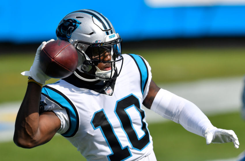 CHARLOTTE, NORTH CAROLINA - OCTOBER 04: Curtis Samuel #10 of the Carolina Panthers in action during their game against the Arizona Cardinals at Bank of America Stadium on October 04, 2020 in Charlotte, North Carolina. The Panthers won 31-21. (Photo by Grant Halverson/Getty Images)