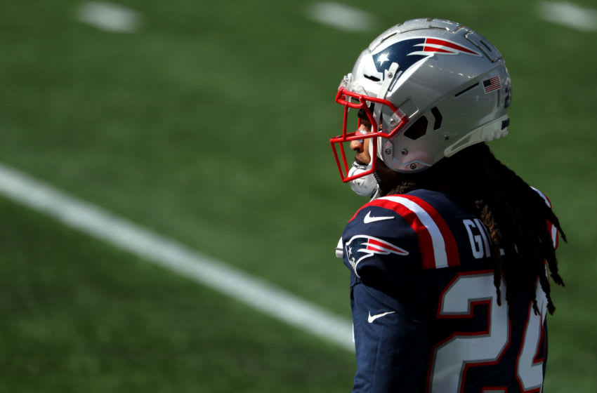 FOXBOROUGH, MASSACHUSETTS - OCTOBER 18: Stephon Gilmore #24 of the New England Patriots looks on before the game against the Denver Broncos at Gillette Stadium on October 18, 2020 in Foxborough, Massachusetts. (Photo by Maddie Meyer/Getty Images)