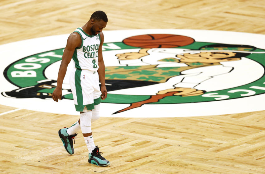 BOSTON, MASSACHUSETTS - JANUARY 30: Kemba Walker #8 of the Boston Celtics looks on during the fourth quarter against the Los Angeles Lakers at TD Garden on January 30, 2021 in Boston, Massachusetts. The Lakers defeat the Celtics 96-95. (Photo by Maddie Meyer/Getty Images)