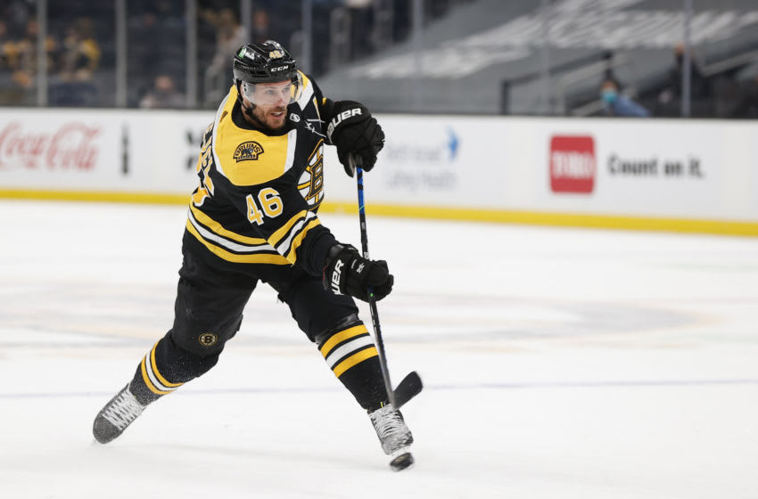 BOSTON, MASSACHUSETTS - MAY 01: David Krejci #46 of the Boston Bruins skates against the Buffalo Sabres during the third period at TD Garden on May 01, 2021 in Boston, Massachusetts. The Bruins defeat the Sabres 6-2. (Photo by Maddie Meyer/Getty Images)