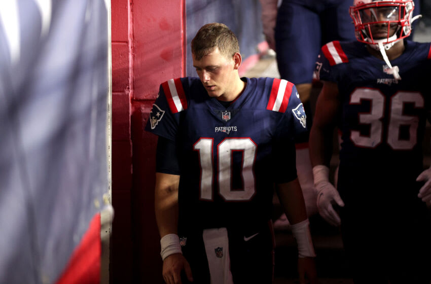 FOXBOROUGH, MASSACHUSETTS - SEPTEMBER 12: Mac Jones #10 of the New England Patriots reacts after losing to the Miami Dolphins 17-16 at Gillette Stadium on September 12, 2021 in Foxborough, Massachusetts. (Photo by Maddie Meyer/Getty Images)