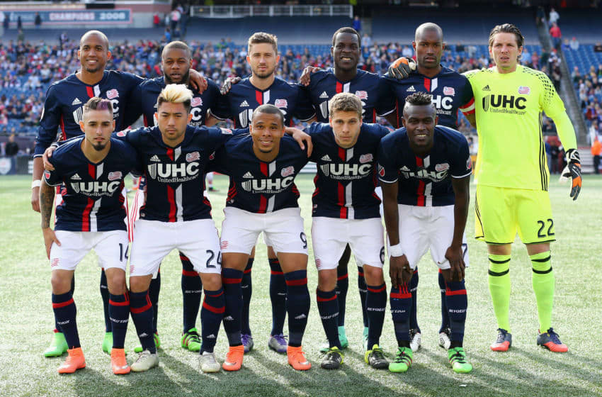 FOXBORO, MA - MARCH 12: The starting lineup for the New England Revolution before their game against the D.C. United at Gillette Stadium on March 12, 2016 in Foxboro, Massachusetts. (Photo by Maddie Meyer/Getty Images)