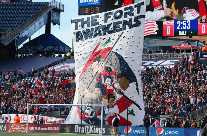 FOXBORO, MA - MARCH 12: New England Revolution fans raise a banner in support for their team before the game against the D.C. United at Gillette Stadium on March 12, 2016 in Foxboro, Massachusetts. (Photo by Maddie Meyer/Getty Images)
