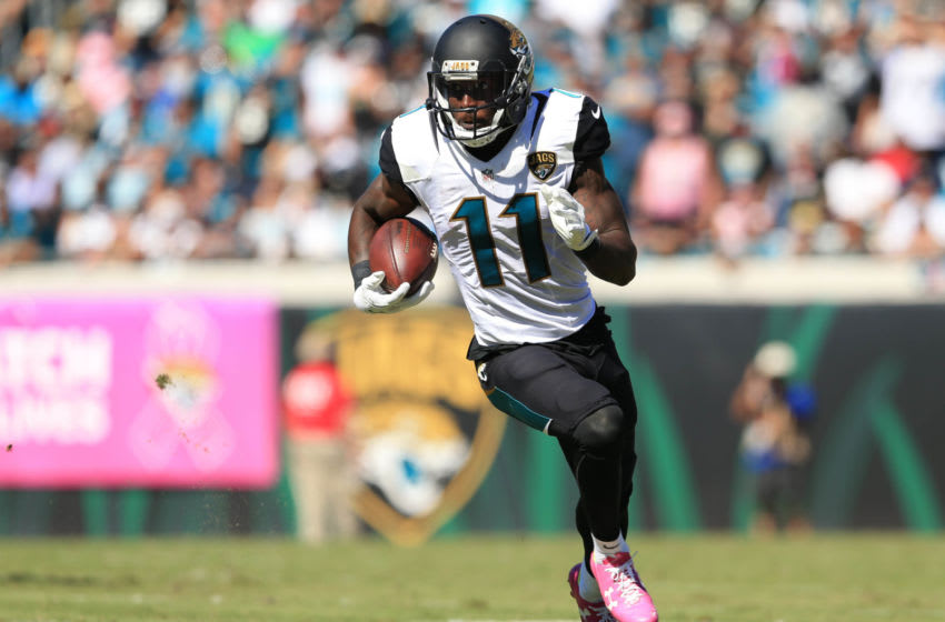 JACKSONVILLE, FL - OCTOBER 23: Marquise Lee #11 of the Jacksonville Jaguars runs the ball during the first half of the game against the Oakland Raiders at EverBank Field on October 23, 2016 in Jacksonville, Florida. (Photo by Rob Foldy/Getty Images)