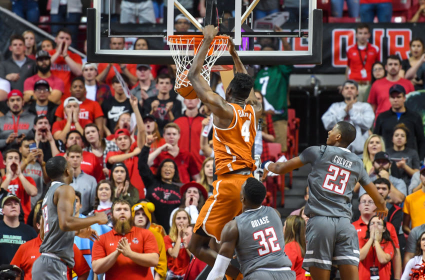 LUBBOCK, TX - JANUARY 31: Mohamed Bamba #4 of the Texas Longhorns dunks the basketball during the game against the Texas Tech Red Raiders on January 31, 2018 at United Supermarket Arena in Lubbock, Texas. Texas Tech defeated Texas 73-71 in overtime. (Photo by John Weast/Getty Images)