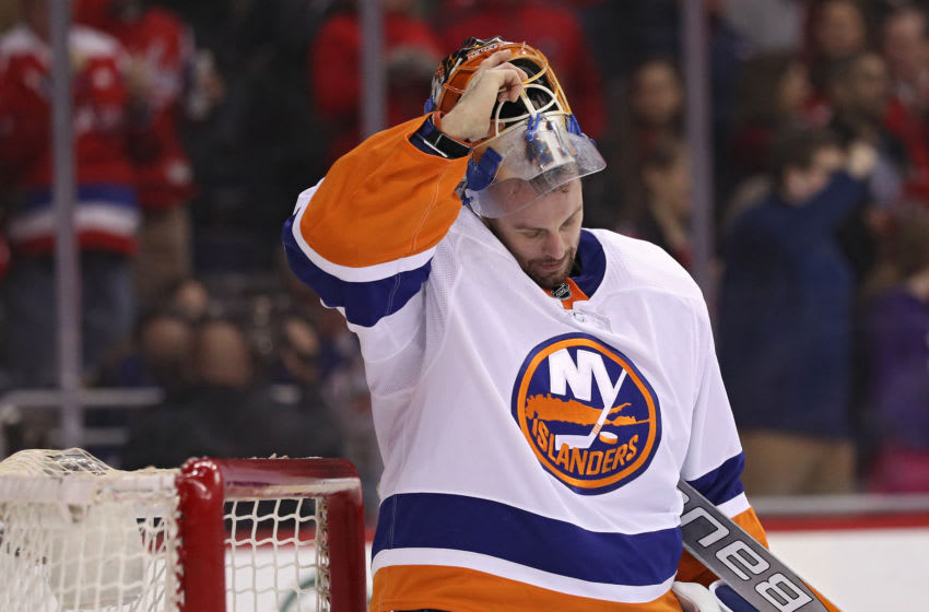 WASHINGTON, DC - MARCH 16: Goalie Jaroslav Halak #41 of the New York Islanders looks on after allowing a goal to Matt Niskanen #2 of the Washington Capitals during the second period at Capital One Arena on March 16, 2018 in Washington, DC. (Photo by Patrick Smith/Getty Images)