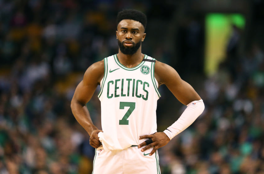 BOSTON, MA - MAY 9: Jaylen Brown #7 of the Boston Celtics looks on during Game Five of the Eastern Conference Second Round of the 2018 NBA Playoffs at TD Garden on May 9, 2018 in Boston, Massachusetts. (Photo by Maddie Meyer/Getty Images)