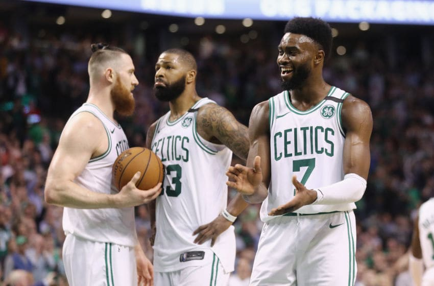 BOSTON, MA - MAY 15: Jaylen Brown #7 of the Boston Celtics reacts in the second half against the Cleveland Cavaliers during Game Two of the 2018 NBA Eastern Conference Finals at TD Garden on May 15, 2018 in Boston, Massachusetts. NOTE TO USER: User expressly acknowledges and agrees that, by downloading and or using this photograph, User is consenting to the terms and conditions of the Getty Images License Agreement. (Photo by Maddie Meyer/Getty Images)