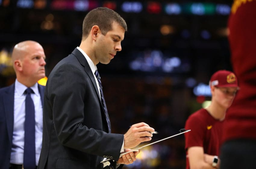 CLEVELAND, OH - MAY 21: Head coach Brad Stevens of the Boston Celtics looks on during a time out in the first half against the Cleveland Cavaliers during Game Four of the 2018 NBA Eastern Conference Finals at Quicken Loans Arena on May 21, 2018 in Cleveland, Ohio. NOTE TO USER: User expressly acknowledges and agrees that, by downloading and or using this photograph, User is consenting to the terms and conditions of the Getty Images License Agreement. (Photo by Gregory Shamus/Getty Images)