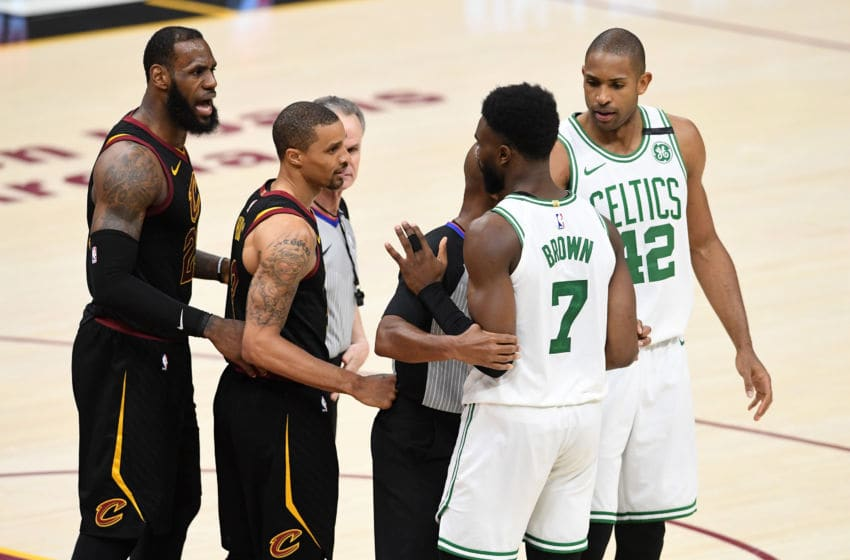 CLEVELAND, OH - MAY 25: Jaylen Brown of the Boston Celtics and LeBron James of the Cleveland Cavaliers speak after a play in the second half during Game Six of the 2018 NBA Eastern Conference Finals at Quicken Loans Arena on May 25, 2018 in Cleveland, Ohio. NOTE TO USER: User expressly acknowledges and agrees that, by downloading and or using this photograph, User is consenting to the terms and conditions of the Getty Images License Agreement. (Photo by Jason Miller/Getty Images)