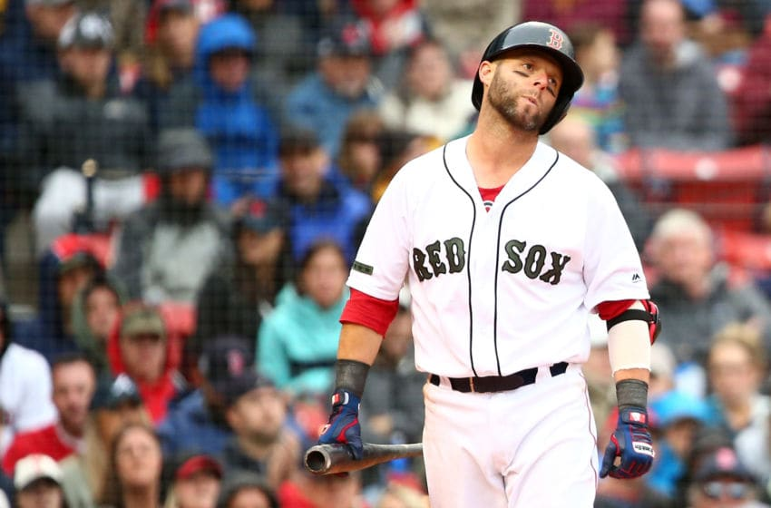 BOSTON, MA - MAY 27: Dustin Pedroia #15 of the Boston Red Sox reacts after striking out in the eighth inning of a game against the Atlanta Braves at Fenway Park on May 27, 2018 in Boston, Massachusetts. (Photo by Adam Glanzman/Getty Images)