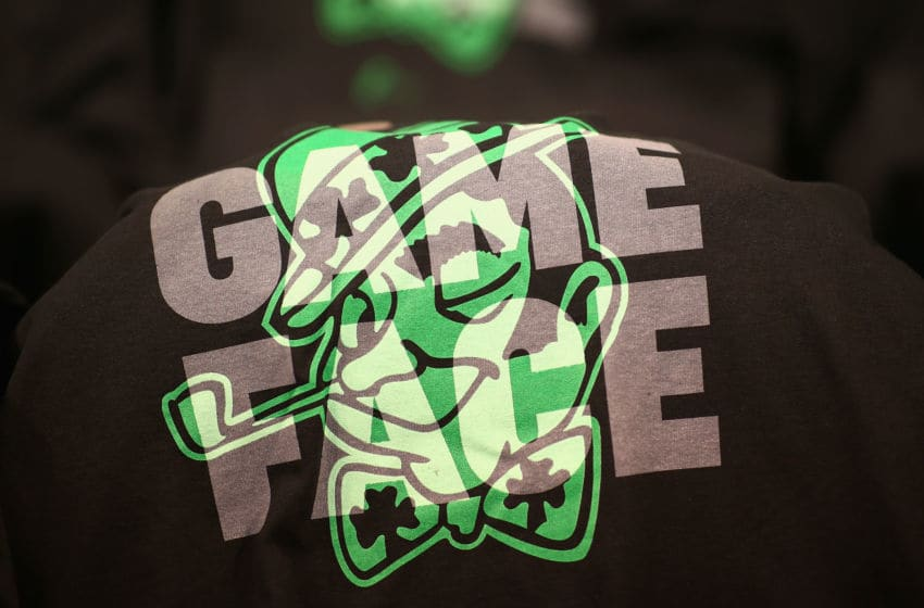 BOSTON, MA - MAY 27: A t-shirt is seen on a seat prior to Game Seven of the 2018 NBA Eastern Conference Finals between the Cleveland Cavaliers and the Boston Celtics at TD Garden on May 27, 2018 in Boston, Massachusetts. NOTE TO USER: User expressly acknowledges and agrees that, by downloading and or using this photograph, User is consenting to the terms and conditions of the Getty Images License Agreement. (Photo by Adam Glanzman/Getty Images)