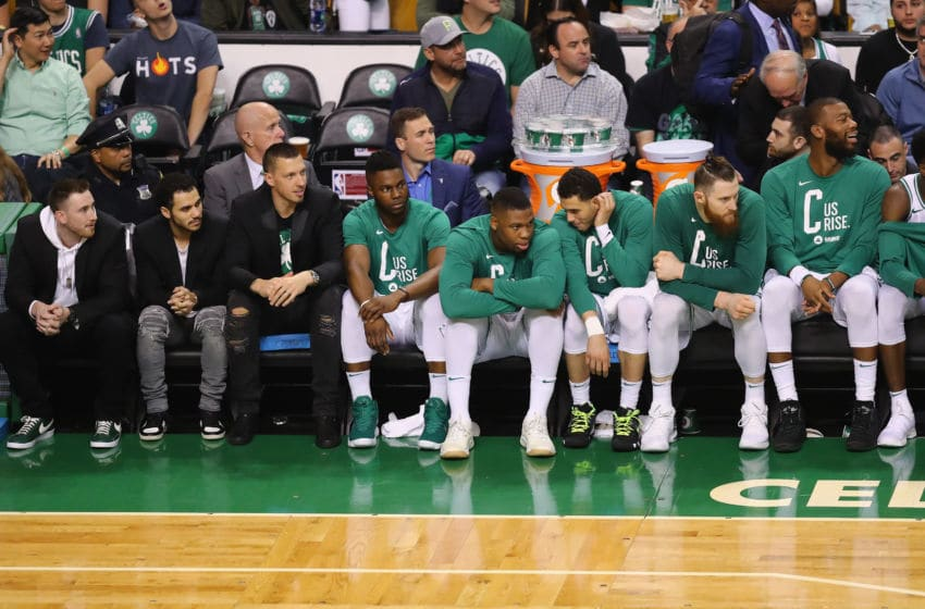 BOSTON, MA - MAY 27: The Boston Celtics bench looks on in the first half against the Cleveland Cavaliers during Game Seven of the 2018 NBA Eastern Conference Finals at TD Garden on May 27, 2018 in Boston, Massachusetts. NOTE TO USER: User expressly acknowledges and agrees that, by downloading and or using this photograph, User is consenting to the terms and conditions of the Getty Images License Agreement. (Photo by Adam Glanzman/Getty Images)