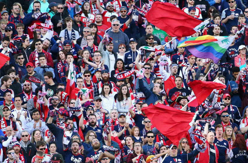 FOXBORO, MA - MARCH 12: New England Revolution fans cher on their team during the first half against the D.C. United at Gillette Stadium on March 12, 2016 in Foxboro, Massachusetts. (Photo by Maddie Meyer/Getty Images)
