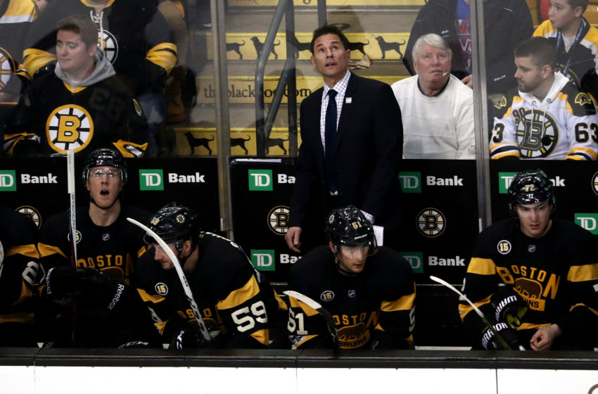 BOSTON, MA - FEBRUARY 11: Interim head coach of the Boston Bruins Bruce Cassidy looks on during the first period against the Vancouver Canucks at TD Garden on February 11, 2017 in Boston, Massachusetts. (Photo by Maddie Meyer/Getty Images)