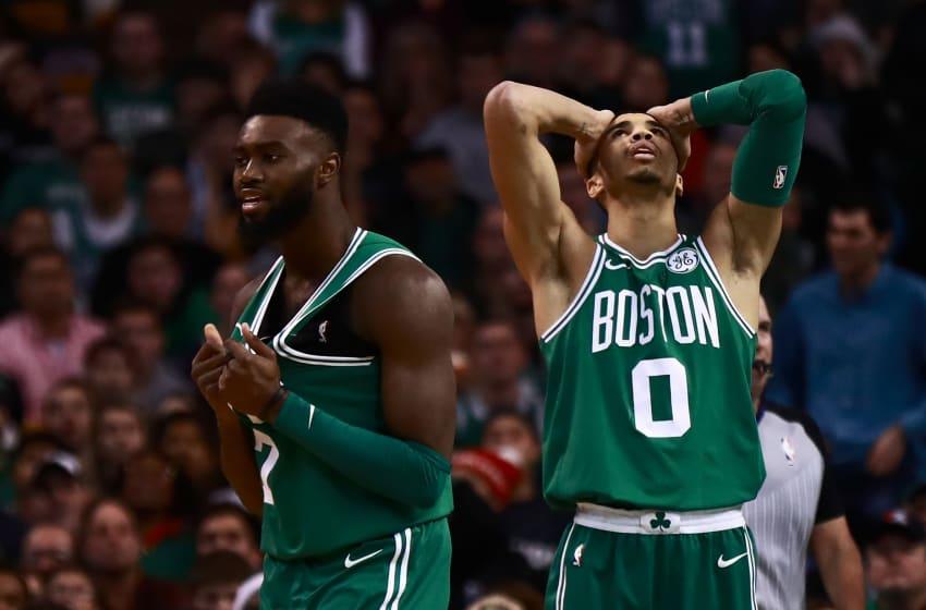 Boston Celtics Jayson Tatum and Jaylen Brown (Photo by Omar Rawlings/Getty Images)