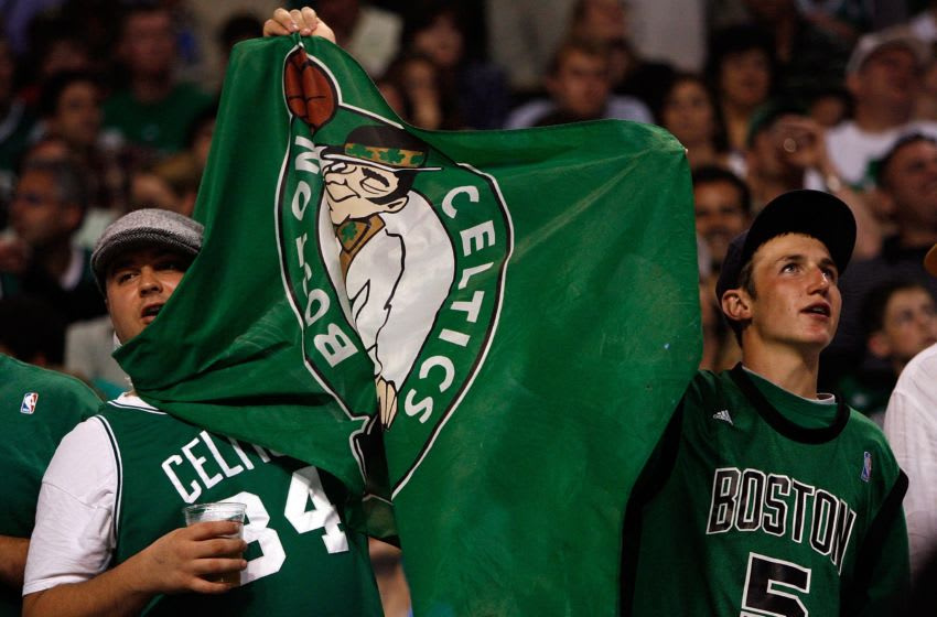 BOSTON - JUNE 08: Boston Celtics fans hold up a banner in Game Two of the 2008 NBA Finals against the Los Angeles Lakers on June 8, 2008 at TD Banknorth Garden in Boston, Massachusetts. NOTE TO USER: User expressly acknowledges and agrees that, by downloading and/or using this Photograph, user is consenting to the terms and conditions of the Getty Images License Agreement. (Photo by Kevin C. Cox/Getty Images)