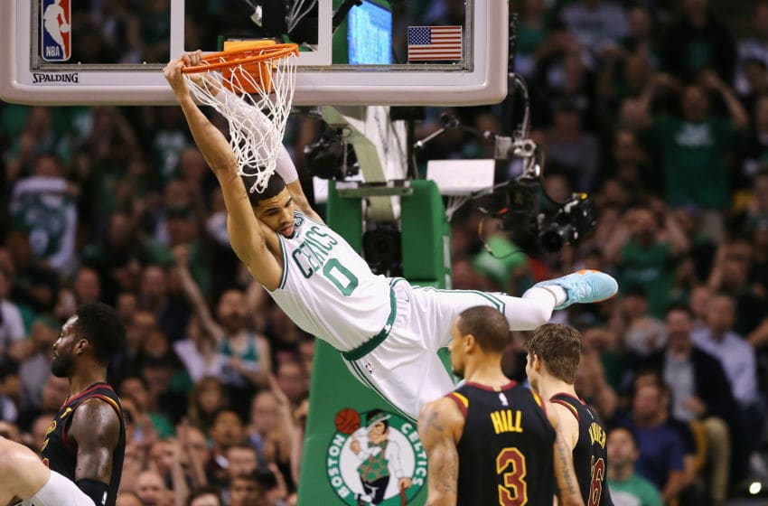 BOSTON, MA - MAY 27: Jayson Tatum #0 of the Boston Celtics dunks the ball in the first half against the Cleveland Cavaliers during Game Seven of the 2018 NBA Eastern Conference Finals at TD Garden on May 27, 2018 in Boston, Massachusetts. NOTE TO USER: User expressly acknowledges and agrees that, by downloading and or using this photograph, User is consenting to the terms and conditions of the Getty Images License Agreement. (Photo by Maddie Meyer/Getty Images)