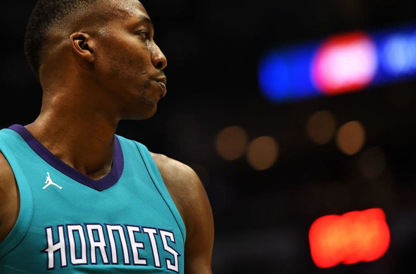 MILWAUKEE, WI - OCTOBER 23: Dwight Howard #12 of the Charlotte Hornets walks to the free throw line during a game against the Milwaukee Bucks at the BMO Harris Bradley Center on October 23, 2017 in Milwaukee, Wisconsin. NOTE TO USER: User expressly acknowledges and agrees that, by downloading and or using this photograph, User is consenting to the terms and conditions of the Getty Images License Agreement. (Photo by Stacy Revere/Getty Images)