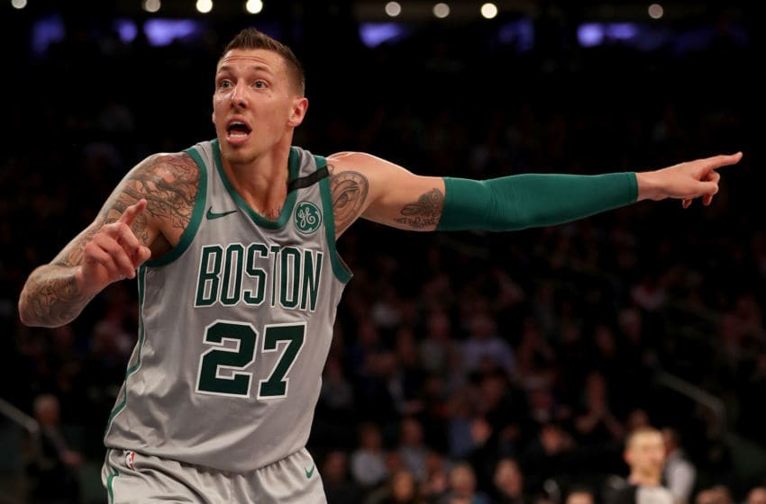 NEW YORK, NY - FEBRUARY 24: Daniel Theis #27 of the Boston Celtics reacts to a call in the second half against the New York Knicks at Madison Square Garden on February 24,2018 in New York City. NOTE TO USER: User expressly acknowledges and agrees that, by downloading and or using this Photograph, user is consenting to the terms and conditions of the Getty Images License Agreement (Photo by Elsa/Getty Images)