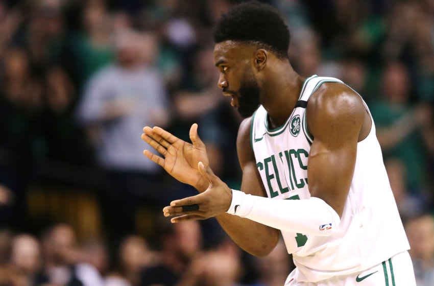 BOSTON, MA - MAY 27: Jaylen Brown #7 of the Boston Celtics reacts during Game Seven of the 2018 NBA Eastern Conference Finals against the Cleveland Cavaliers at TD Garden on May 27, 2018 in Boston, Massachusetts. (Photo by Maddie Meyer/Getty Images)