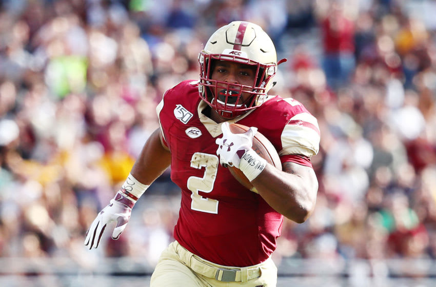 CHESTNUT HILL, MASSACHUSETTS - SEPTEMBER 07: AJ Dillon #2 of the Boston College Eagles carries the ball during the first half against the Richmond Spiders at Alumni Stadium on September 07, 2019 in Chestnut Hill, Massachusetts. (Photo by Tim Bradbury/Getty Images)