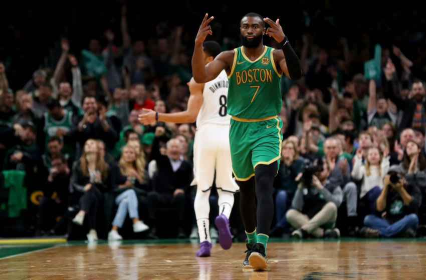 BOSTON, MASSACHUSETTS - NOVEMBER 27: Jaylen Brown #7 of the Boston Celtics celebrates after hitting a three point shot during the second half of the game against the Brooklyn Nets at TD Garden on November 27, 2019 in Boston, Massachusetts. The Celtics defeat the Nets 121-110. (Photo by Maddie Meyer/Getty Images)