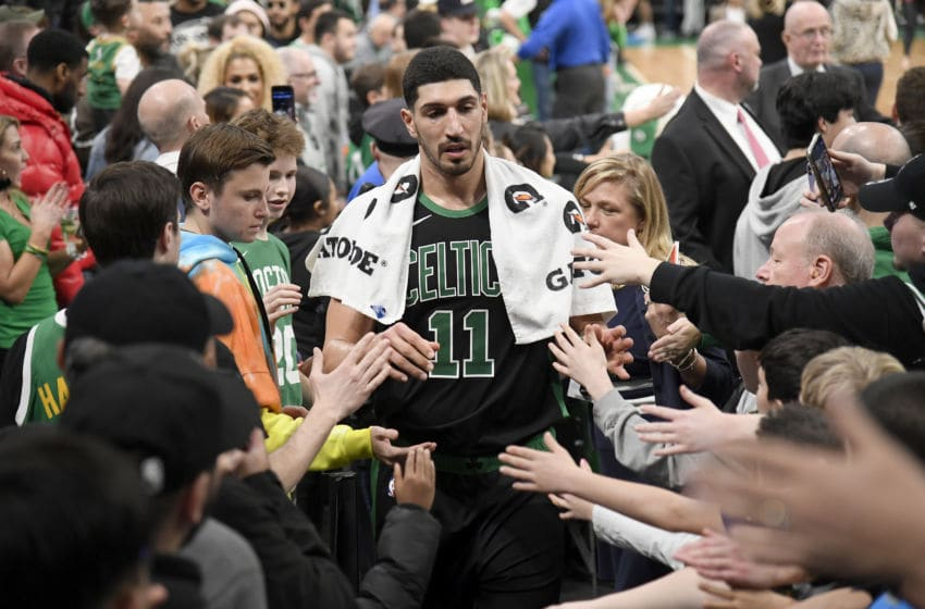 BOSTON, MA - JANUARY 11: Enes Kanter #11 of the Boston Celtics hi-five fans after the game against the New Orleans Pelicans on January 11, 2020 at the TD Garden in Boston, Massachusetts. NOTE TO USER: User expressly acknowledges and agrees that, by downloading and or using this photograph, User is consenting to the terms and conditions of the Getty Images License Agreement. Mandatory Copyright Notice: Copyright 2020 NBAE (Photo by Brian Babineau/NBAE via Getty Images)