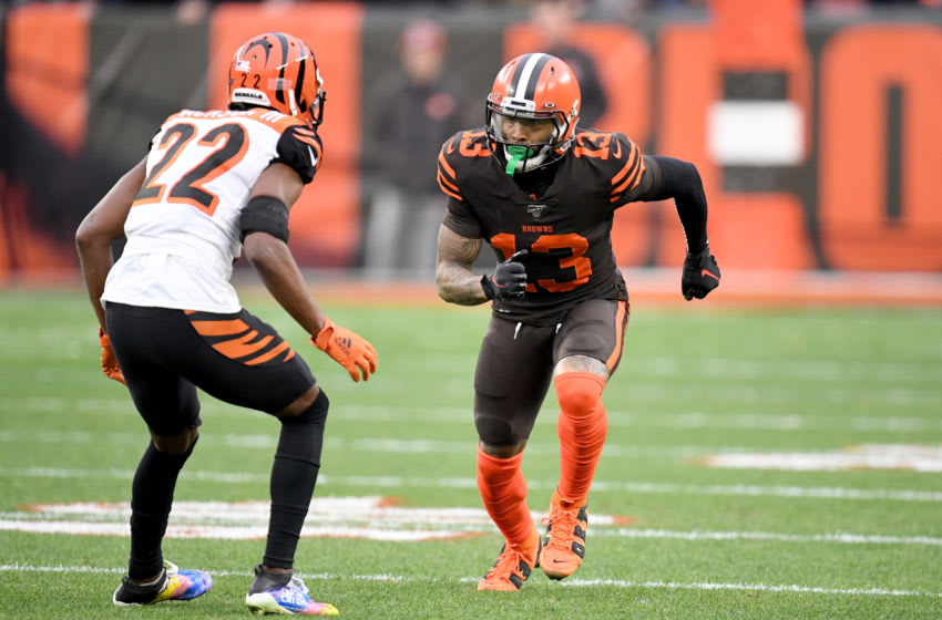CLEVELAND, OHIO - DECEMBER 08: Wide receiver Odell Beckham #13 of the Cleveland Browns jumps off the line while being covered by cornerback William Jackson #22 of the Cincinnati Bengals during the second half at FirstEnergy Stadium on December 08, 2019 in Cleveland, Ohio. The Browns defeated the Bengals 27-19. (Photo by Jason Miller/Getty Images)