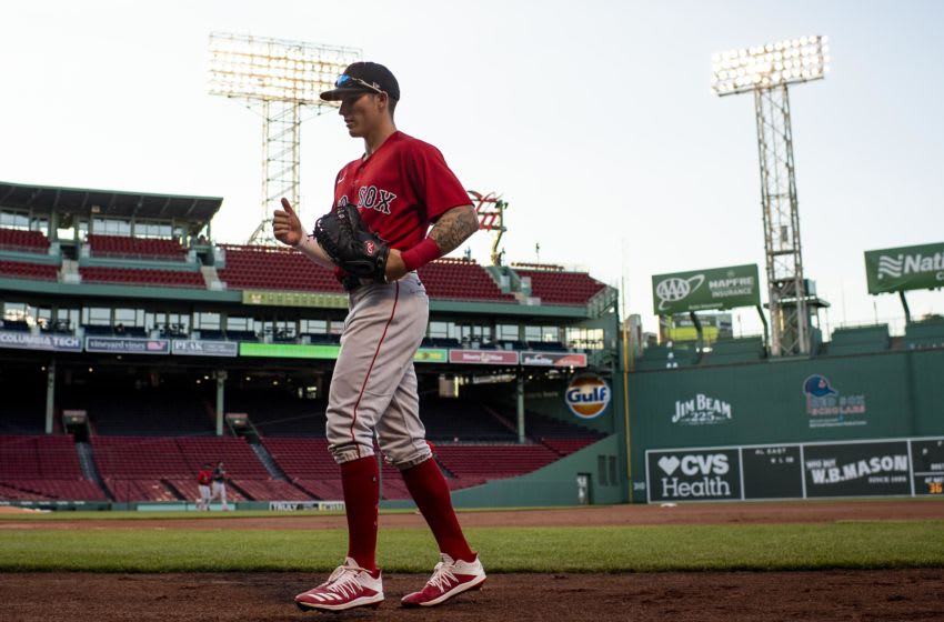 BOSTON, MA - JULY 20: Jarren Duran #92 of the Boston Red Sox walks toward the dugout during an intrasquad game during a summer camp workout before the start of the 2020 Major League Baseball season on July 20, 2020 at Fenway Park in Boston, Massachusetts. The season was delayed due to the coronavirus pandemic. (Photo by Billie Weiss/Boston Red Sox/Getty Images)