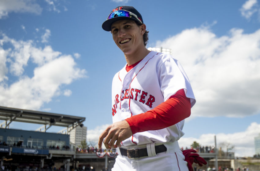 BOSTON, MA - MAY 11: Jarren Duran #24 of the Worcester Red Sox reacts before the inaugural game at Polar Park against the Syracuse Mets on May 11, 2021 in Worcester, Massachusetts. It was the first game ever played at Polar Park. (Photo by Billie Weiss/Boston Red Sox/Getty Images)