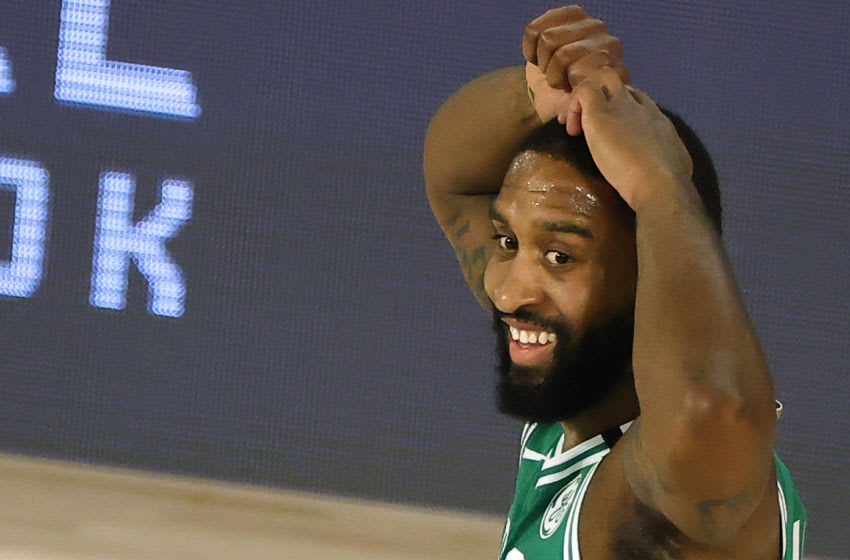 LAKE BUENA VISTA, FLORIDA - AUGUST 19: Brad Wanamaker #9 of the Boston Celtics reacts after being charged with a foul against the Philadelphia 76ers during the second quarter in Game Two of the Eastern Conference First Round during the 2020 NBA Playoffs at The Field House at ESPN Wide World Of Sports Complex on August 19, 2020 in Lake Buena Vista, Florida. NOTE TO USER: User expressly acknowledges and agrees that, by downloading and or using this photograph, User is consenting to the terms and conditions of the Getty Images License Agreement. (Photo by Kevin C. Cox/Getty Images)