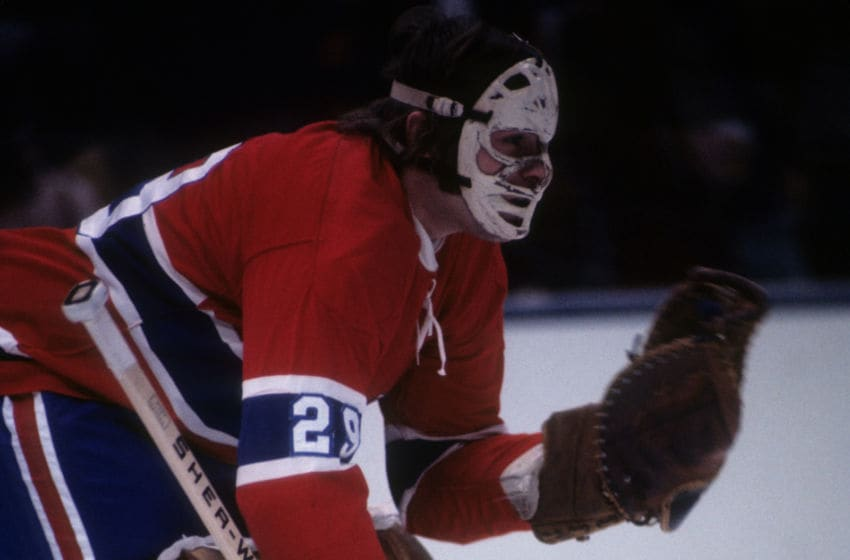 1974; Goalie Ken Dryden #29 of the Montreal Canadiens defends the net during an NHL game circa 1974. (Photo by Melchior DiGiacomo/Getty Images)