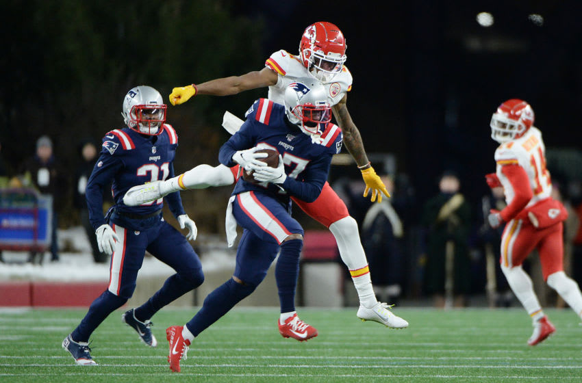 FOXBOROUGH, MASSACHUSETTS - DECEMBER 08: J.C. Jackson #27 of the New England Patriots runs after intercepting a pass during the first quarter against the Kansas City Chiefs in the game at Gillette Stadium on December 08, 2019 in Foxborough, Massachusetts. (Photo by Kathryn Riley/Getty Images)