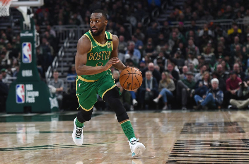 MILWAUKEE, WISCONSIN - JANUARY 16: Kemba Walker #8 of the Boston Celtics handles the ball during a game against the Milwaukee Bucks at Fiserv Forum on January 16, 2020 in Milwaukee, Wisconsin. NOTE TO USER: User expressly acknowledges and agrees that, by downloading and or using this photograph, User is consenting to the terms and conditions of the Getty Images License Agreement. (Photo by Stacy Revere/Getty Images)