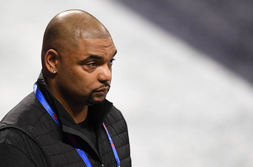 Feb 3, 2019; Atlanta, GA, USA; NFL former player Richard Seymour walks the sidelines before Super Bowl LIII between the New England Patriots and the Los Angeles Rams at Mercedes-Benz Stadium. Mandatory Credit: Dale Zanine-USA TODAY Sports