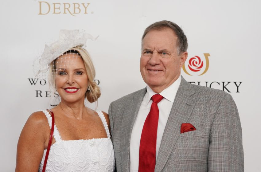 May 4, 2019; Louisville, KY, USA; New England Patriots head coach Bill Belichick and girlfriend Linda Holliday arrive on the red carpet during the 145th running of the Kentucky Derby at Churchill Downs. Mandatory Credit: Mark Zerof-USA TODAY Sports