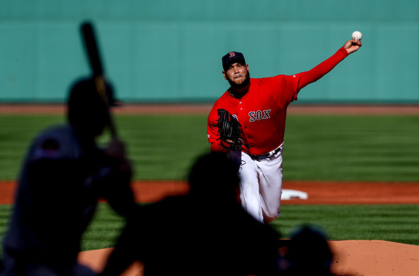 Sep 29, 2019; Boston, MA, USA; Boston Red Sox starting pitcher Eduardo Rodriguez (57) throws a pitch against the Baltimore Orioles during the first inning at Fenway Park. Mandatory Credit: Paul Rutherford-USA TODAY Sports