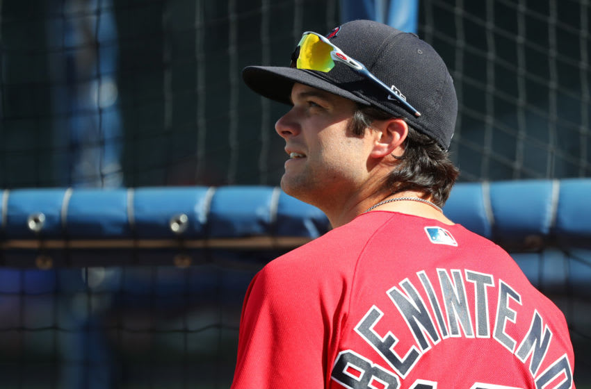 Mar 9, 2020; North Port, Florida, USA;Boston Red Sox left fielder Andrew Benintendi (16) works out prior to the game against the Atlanta Braves at CoolToday Park. Mandatory Credit: Kim Klement-USA TODAY Sports