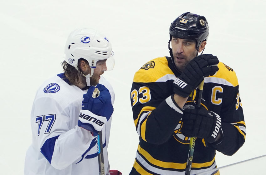 Aug 5, 2020; Toronto, Ontario, CANADA; Victor Hedman #77 of the Tampa Bay Lightning and Zdeno Chara #33 of the Boston Bruins chat during the third period in an Eastern Conference Round Robin game during the 2020 NHL Stanley Cup Playoff at Scotiabank Arena on August 5, 2020 in Toronto, Ontario, Canada. Mandatory Credit: Andre Ringuette via USA TODAY Sports