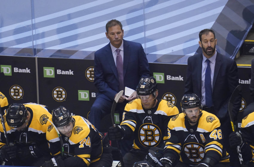Aug 29, 2020; Toronto, Ontario, CAN; Boston Bruins head coach Bruce Cassidy during the first period in game four of the second round of the 2020 Stanley Cup Playoffs against the Tampa Bay Lightning at Scotiabank Arena. Mandatory Credit: John E. Sokolowski-USA TODAY Sports