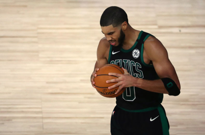 Sep 1, 2020; Lake Buena Vista, Florida, USA; Boston Celtics forward Jayson Tatum (0) reacts during the second half of game two of the second round of the 2020 NBA Playoffs against the Toronto Raptors at ESPN Wide World of Sports Complex. Mandatory Credit: Kim Klement-USA TODAY Sports