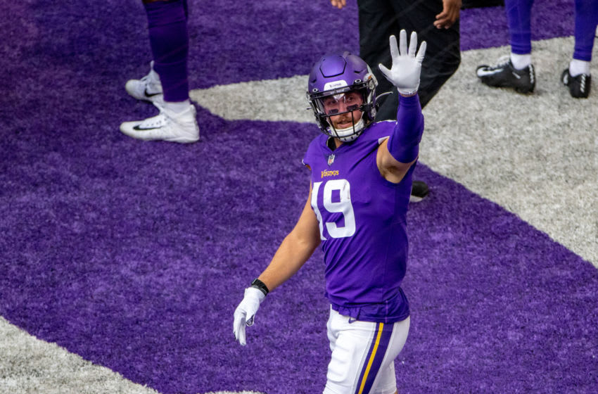 Sep 13, 2020; Minneapolis, Minnesota, USA Minnesota Vikings wide receiver Adam Thielen (19) waves towards empty seats during pregame before a game against the Green Bay Packers at U.S. Bank Stadium. Mandatory Credit: Jesse Johnson-USA TODAY Sports