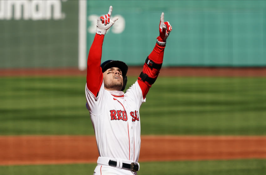 Sep 20, 2020; Boston, Massachusetts, USA; Boston Red Sox first baseman Michael Chavis (23) reacts after hitting a three run home run against the New York Yankees in the third inning at Fenway Park. Mandatory Credit: David Butler II-USA TODAY Sports